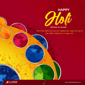 Traditional Happy Holi Festival Of Colors Template Free Vector