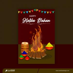 Trending Holika Dahan Festival Template Or Poster Design Premium Vector