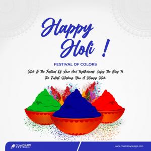 Three Powder Color Plates Happy Holi Background Free Vector