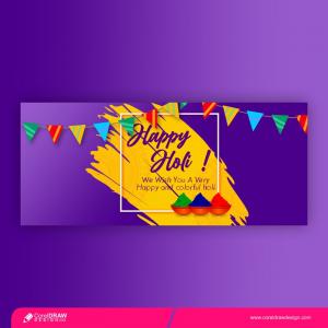 Happy Holi Festival Banner Free Vector