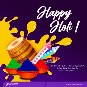 Trending Happy Holi Party Flyer With Pichkari Colors And Dhol Free Vector