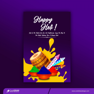 Trending Happy Holi Party Template With Pichkari Colors And Dhol Free Vector