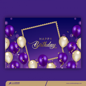 Realistic Birthday Background With Balloons Premium Vector