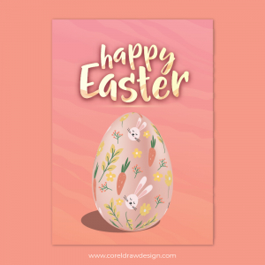 Happy Easter Pink Background Sky With Egg Download Free Ai & EPS File Trending 2021 Template