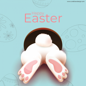 Happy Easter Rabbit Running Into Hole Yellow Background Sky With Egg Download Free Ai & EPS File Trending 2021 Template