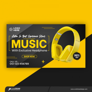 Yellow Headphone Product Social Media Instagram Banner Free Premium Vactor