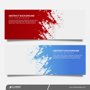 Abstract Grunge Banners Set In Two Colors Free Vector