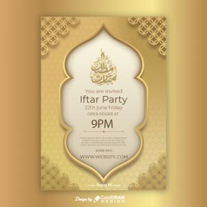 Ramadan Islamic Golden Iftar Menu Card Download Free AI & EPS Template Full Vector Trending 2021