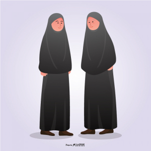 Hijabi Mother And Daughter Pose Corporate And Student Full Vector Ai & Eps Download coreldrawdesign