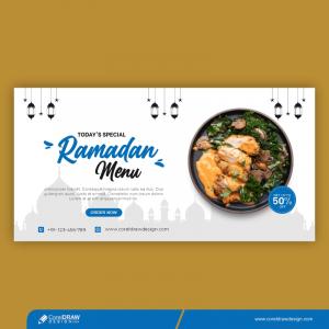Special Ramadan Food Landing Page Template Banner Premium Vector