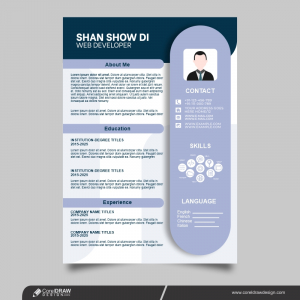 Modern CV Template With Photo Free Vector Design