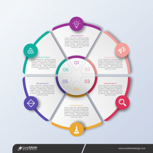 Professional Steps Infographic Template In Circular Style Free Vector