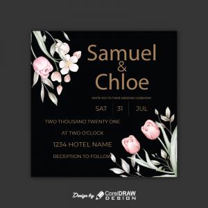 Square Marriage Invitation Black Invitation Card Coreldrawdesign Ai & Eps Download Free