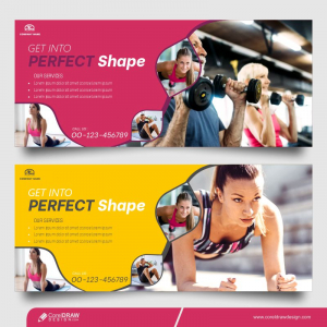 Sport And Tech Horizontal Banner Free Vector