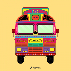 Ethnic Vintage Indian Truck Ancient Art Vector illustration