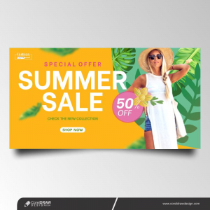 Summer Sale Vector Marketing Material Shopping Ads Banner Template Premium Vector