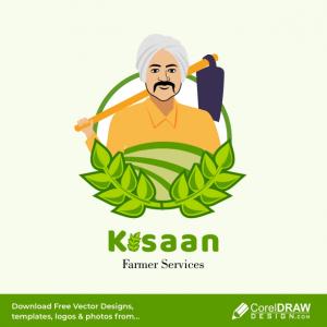 Kisaan the Indian farmer vector illustration, logo free vector design