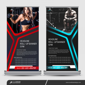 Fitness Gym Roll-up Banner Template Design