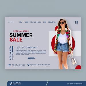 Summer Sale Shopping Ads Banner Template Premium Vector