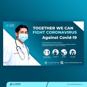 Coronavirus Landing Page Banner Template Premium Vector