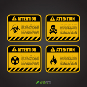 Seamless Attention Warning Sign Boards Vector