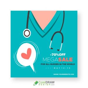 Sale Banner for Nurses, International Nurses Day 2021 Offer Template Design, Free CDR