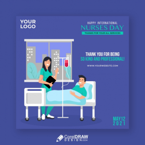 Thank You Card for All Nurses, International Nurses Day 2021, 12 May, Free Vector