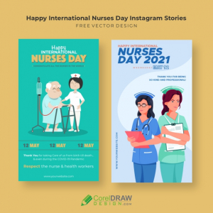 Happy International Nurses Day 2021 Instagram Stories Collection, Free Vector templates