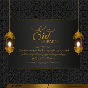 Realistic Eid Mubarak Greeting Card In Paper Style Premium Vector