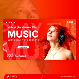 Girl Listening Music Headphone Social Media Post Template Design