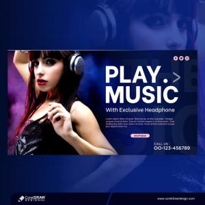 Girl Listening Music Headphone Social Media Post Template Free Design