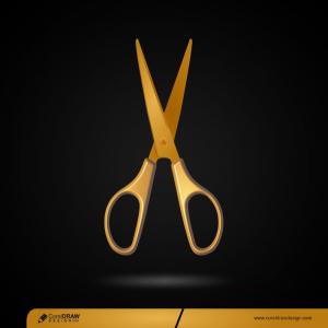 Golden Scissors Isolated Premium Vector