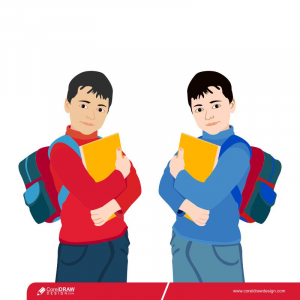Cartoon Two Different Colored School Boy Carrying Backpack Premium Vector