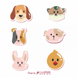 Cute Animals Collection CDR Form Of Beautiful Sticker full vector File Download