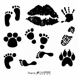 Foot hand Prints silhouette Download From Coreldrawdesign Cdr Version