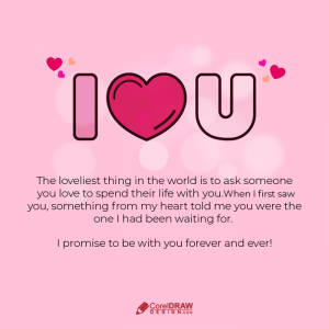 Romantic I LOVE YOU proposal Lettering card