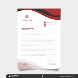 Modern Company Letterhead Design Template With Red Shapes Premium Vector