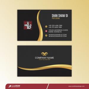 Golden & Red Business Card Free Premium Vector Design