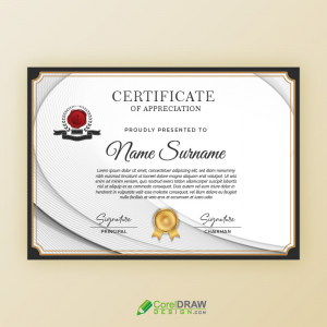 Elegant Wavy Lines Professional Certificate Of Appreciation
