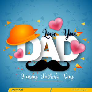 Realistic Happy Fathers Day Blue Card Design Free Vector