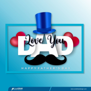 Realistic Happy Fathers Day Greeting Card Free Vector
