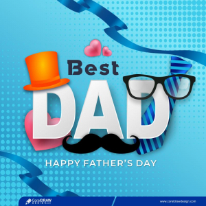 Happy Fathers Day Card With Glasses Mustache And Tie Free Vector