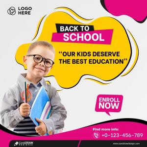 School Banner Design Education & School Promotion Template Free Vector