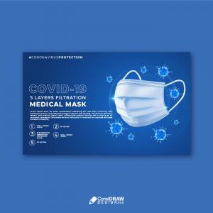 Covid 19 medical  mask protection awareness social media poster
