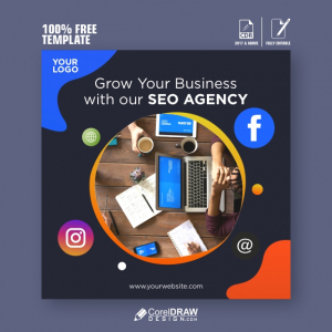SEO search engine optimisation square banner template Free Vector