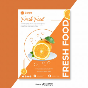 Fresh Food Orange Flyer Free Template Download From Coreldrawdesign
