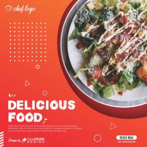 Delicious Food Poster Banner Free Template Download From Coreldrawdesign