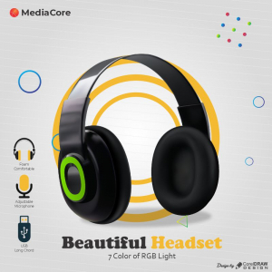 Mediacore Headphone Beautiful Poster Ad Download From Corledrawdesign