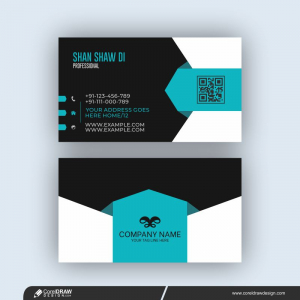 Elegant Minimal Blue And Black Business Card Template Free Vector