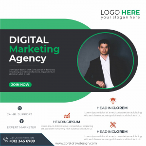Digital Marketing Agency Green Themed Poster Banner Template Download From Coreldrawdesign